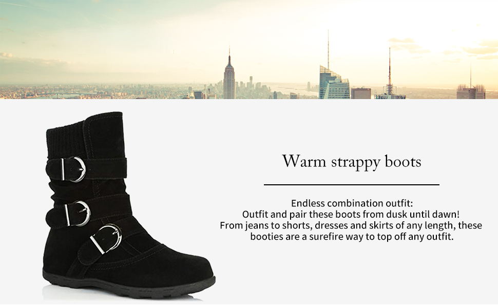 91edd12f10 SNIDEL Women Mid Claf Boots Warm Winter Zip Suede Ankle Booties Strappy  Round Toe Fashion Shoes