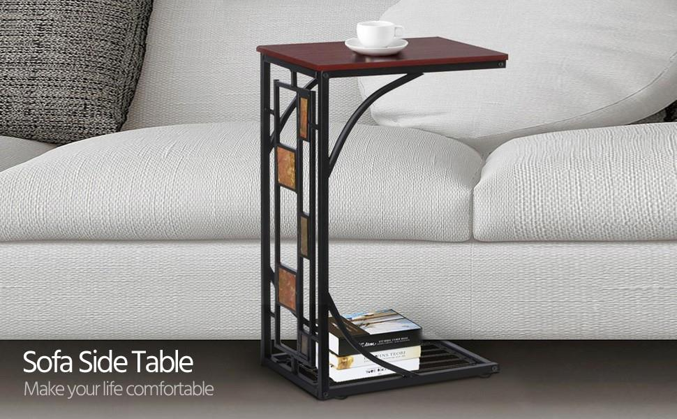 Amazon Com Topeakmart C Shaped Side Sofa Snack Table Coffee Tray