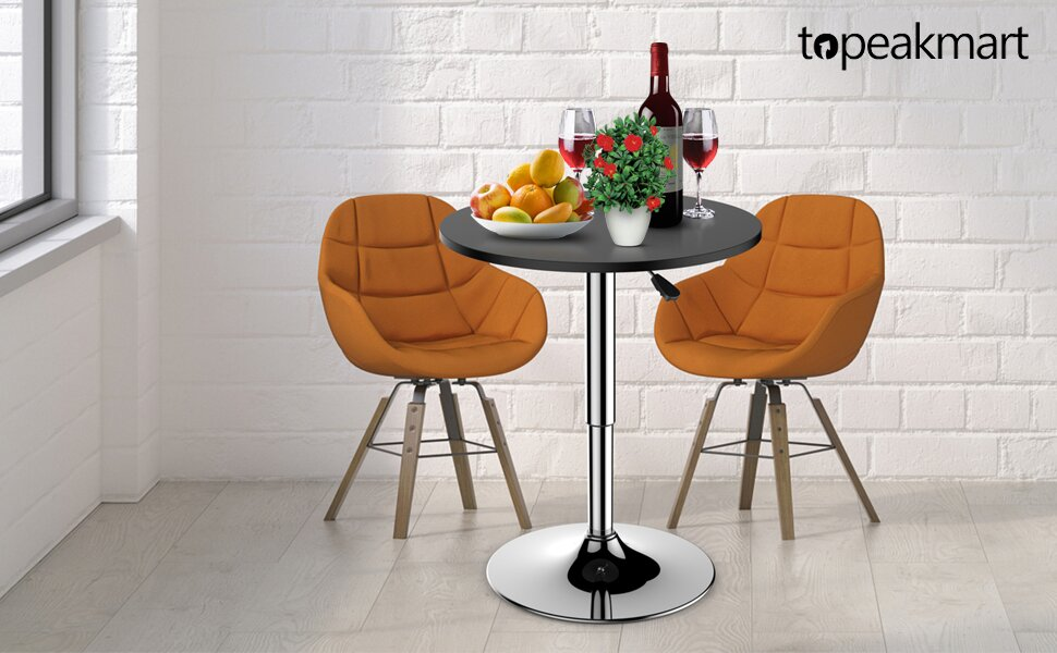 Modern Adjustable Round/Square Pub Table Bar Table 360° Swivel MDF Top
