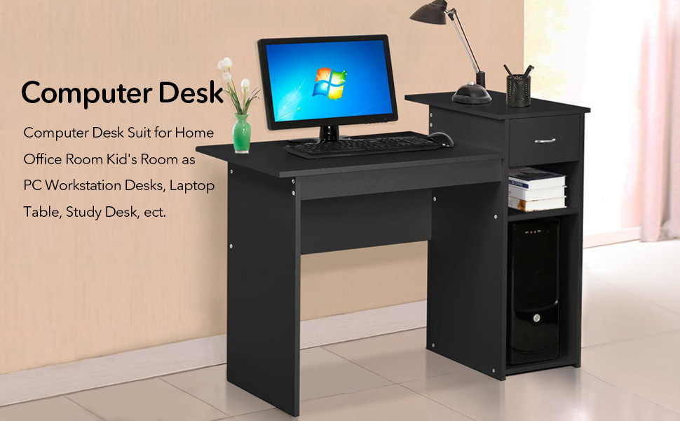 Computer Desk Laptop Table W/Drawer Home Office Study Workstation Furniture