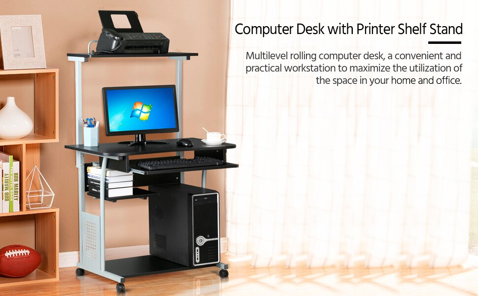 Amazon Com Topeakmart 2 Tier Computer Desk With Printer