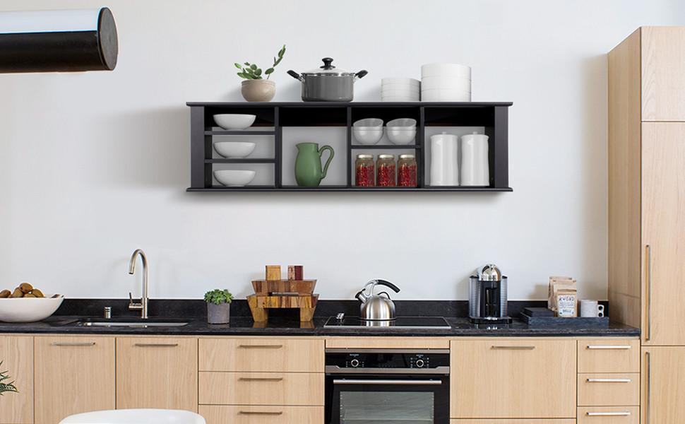Topeakmart Wall Mount Buffet Floating Media Storage Cabinet Hanging Desk Hutch Furniture Black