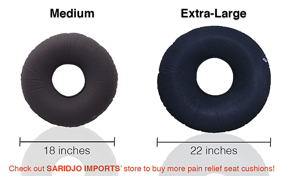 2 (Two) Hemorrhoid Treatment Donut Tailbone Cushion, Prostate Pillow, Pregnancy, Post Natal, Bed Sores, Coccyx, Sciatica, 22 Inches. Ultra Premium ...