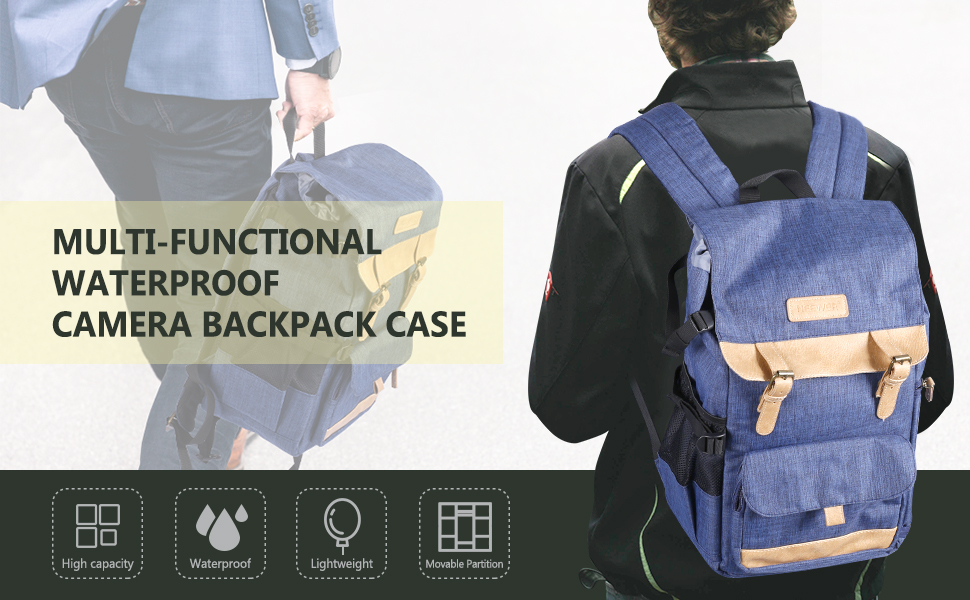 Camera Backpack Multi-Function Retro Large Capacity Waterproof Whistle Buckle Casual Bag Photography Travel SLR Camera Bag