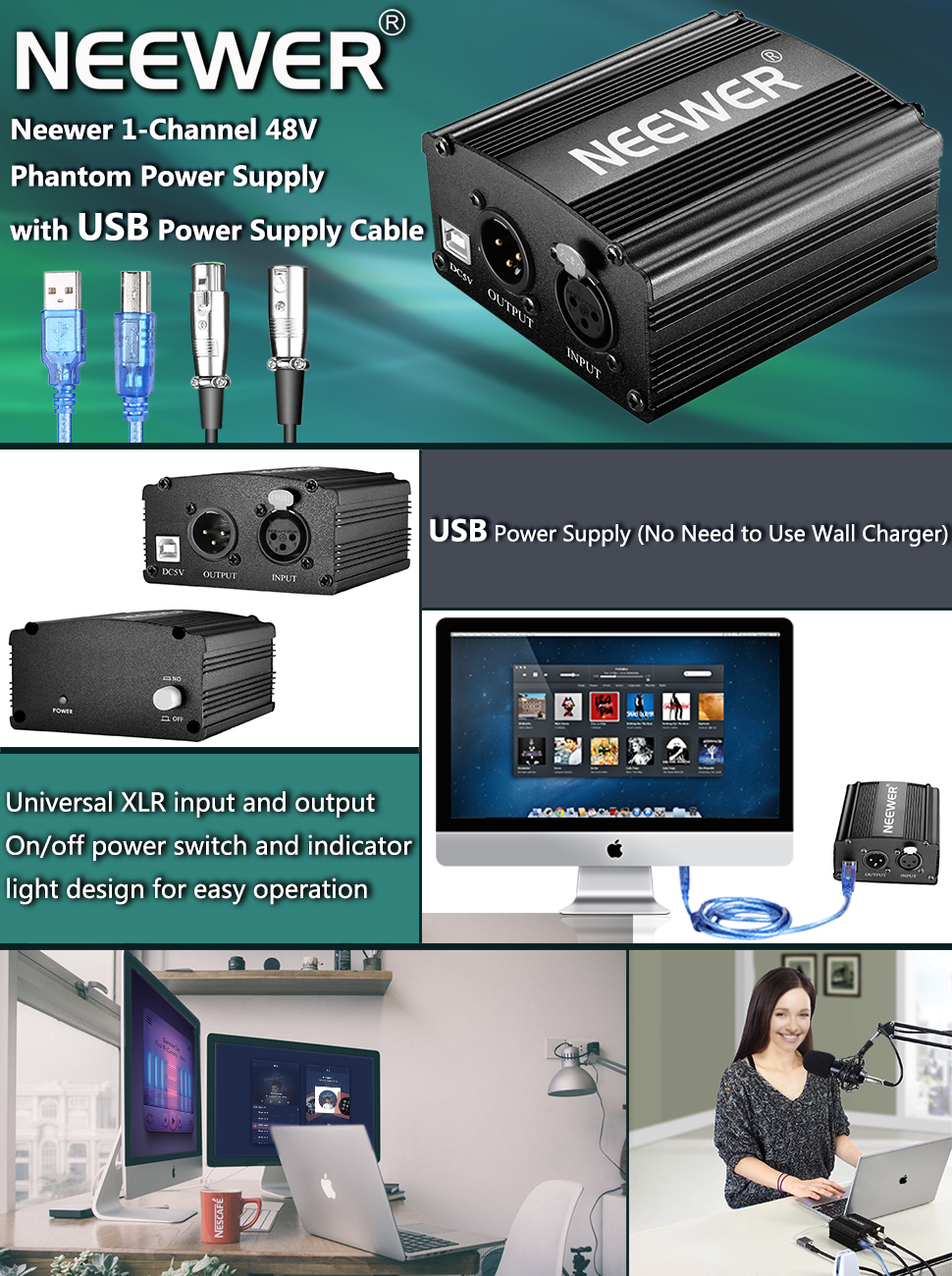 Neewer 1-Channel 48V Phantom Power Supply with 5 feet USB Cable, BONUS+XLR 3 Pin Microphone Cable for Any Condenser Microphone Music Recording Equipment 40092007