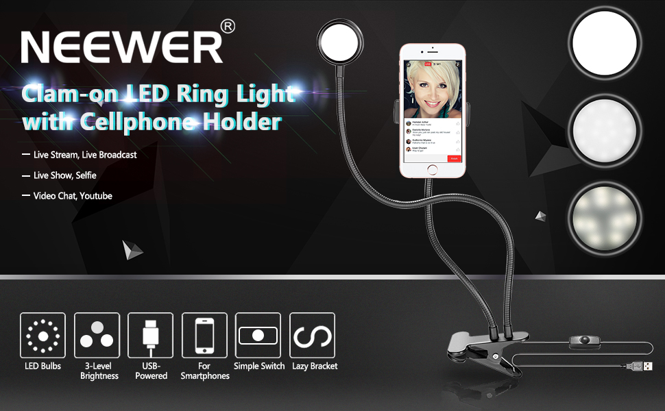 29e1351496d Neewer 3-Level Brightness LED Ring Light with Cell Phone Holder. Amazing  Lighting Effect:
