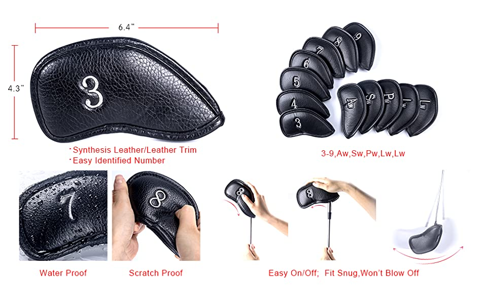 Craftsman Golf 12pcs Thick Synthetic Leather Golf Iron Head Covers Set Headcover Fit All Brands Titleist, Callaway, Ping, Taylormade, Cobra Etc.