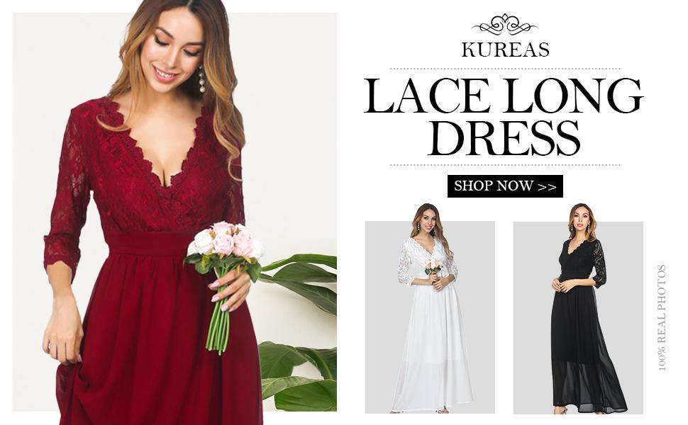 5f6e91b3831 KUREAS V Neck Long Sleeves Lace Patchwork Chiffon Long Evening Dress  Elegant Maxi Dress For Party