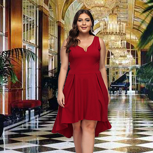 c273d01fd22 KUREAS Women s Sleeveless Dress V Neck High Low Elegant Cocktail ...