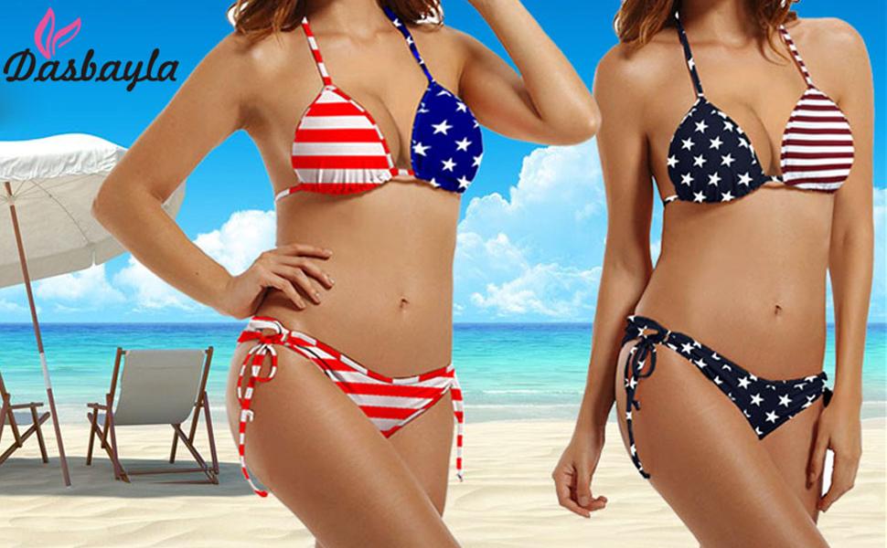 a334d093663 Dasbayla Women Bathing Suit American USA Flag Push up String 2 pcs Bikini