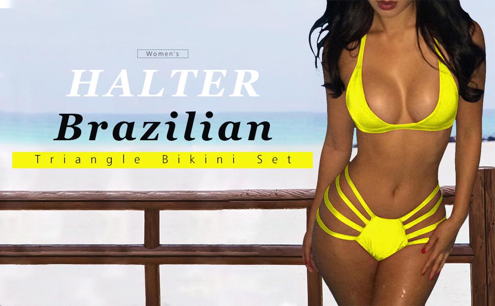 03052ca21ac1e7 Pink Queen Women's Two Piece Bandage Halter Neck Brazilian Triangle Bikini  Set