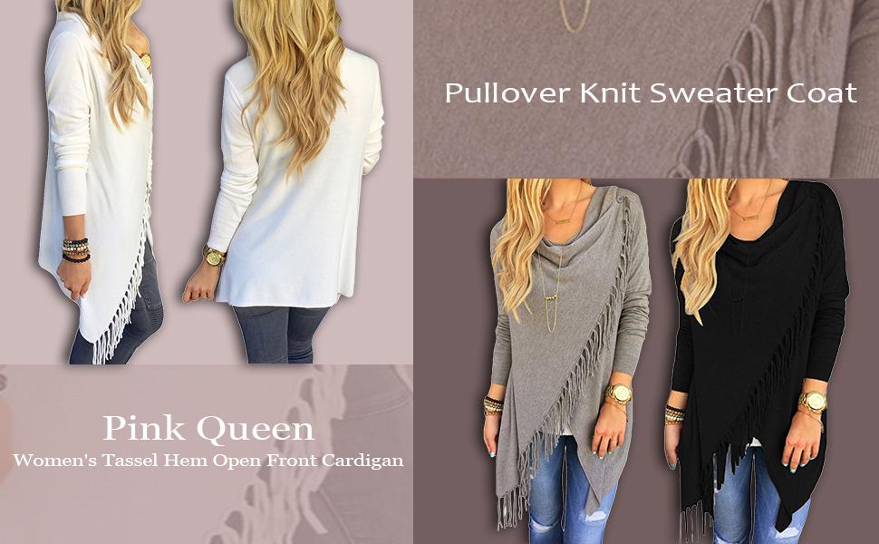 Pink Queen Women's Tassel Hem Open Front Cardigan Pullover Knit ...