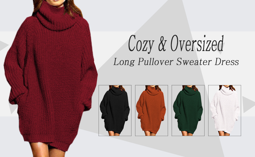 e038be45f597a Pink Queen Women's Loose Oversize Turtleneck Wool Long Pullover Sweater  Dress