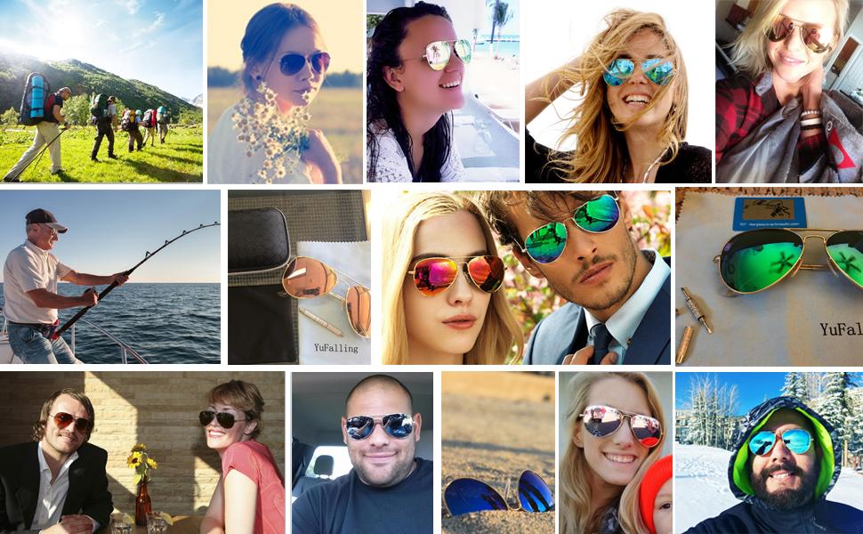 1911332be43 Amazon.com  YuFalling Polarized Aviator Sunglasses for Men and Women ...