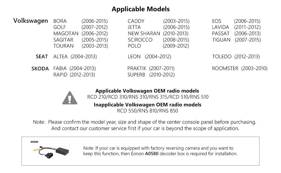 Android Auto Head Unit,Eonon Dual Bluetooth Android 8 0 Car Android Auto  and Apple CarPlay Head Unit Applicable to Volkswagen/SEAT/Skoda 4GB  RAM+32GB