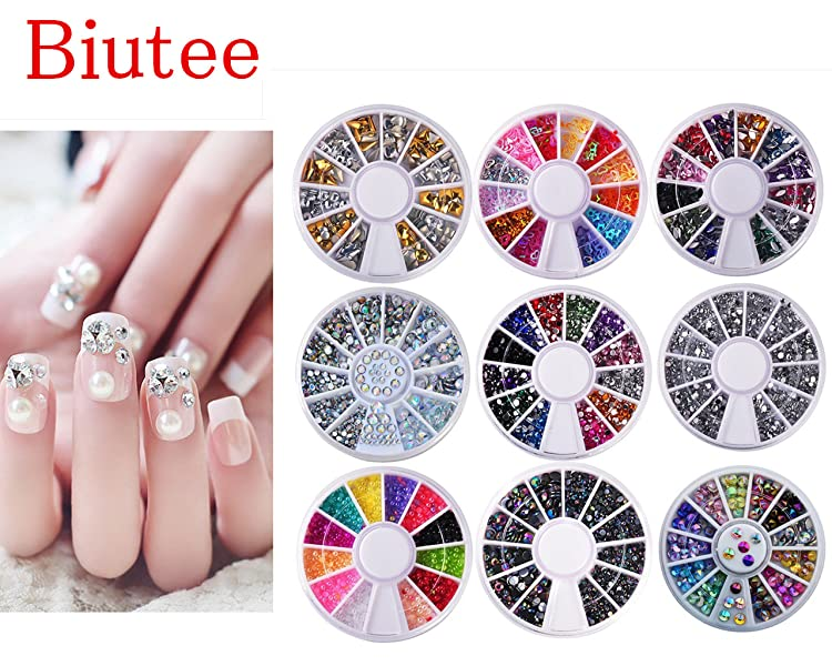 Review for Biutee 10 Wheels nail art decor accessories Nail Rhinestones Premium Manicure Nail Art Decorations Nail Tools