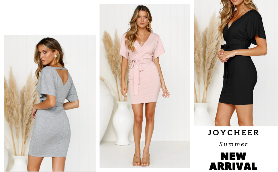 31202e2d30d4 NEW 2019 Summer Women's Sexy V Neck Backless Short Batwing Sleeves Bodycon Mini  Dress with Belt