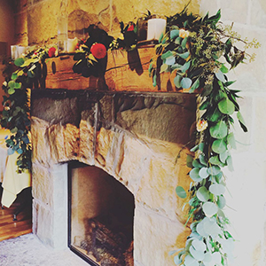 greenery fireplace