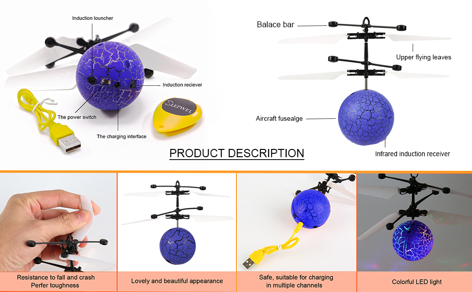 Blue Slepwel UFO Flying Ball Magic led Light with Remote