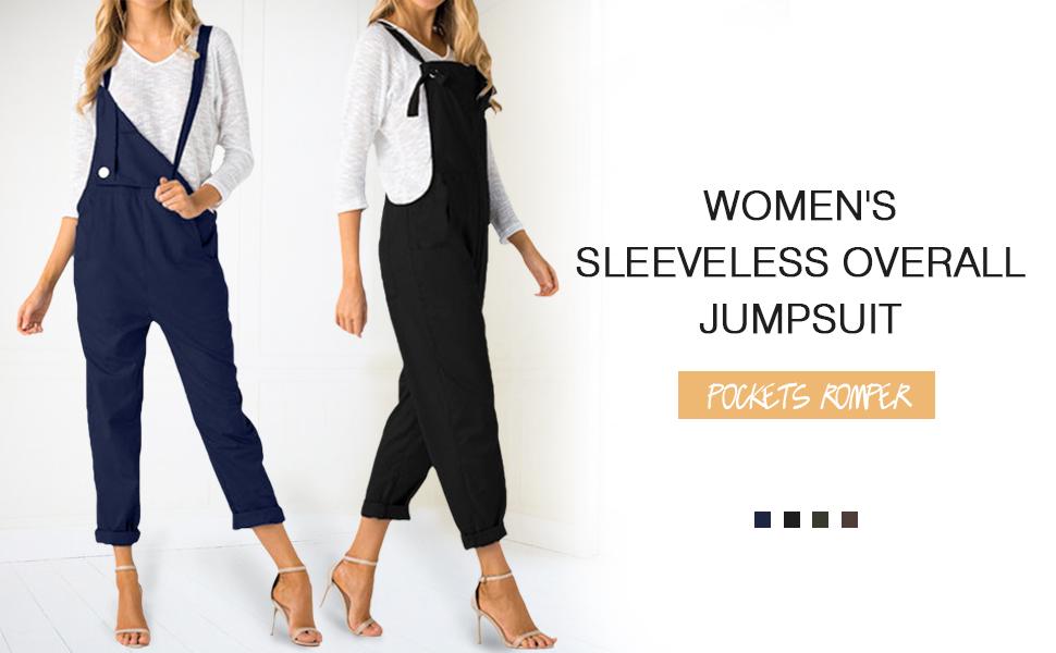 4a0c7d3244f Amazon.com  ACHIOOWA Women s Sleeveless Overall Strappy Pocket ...