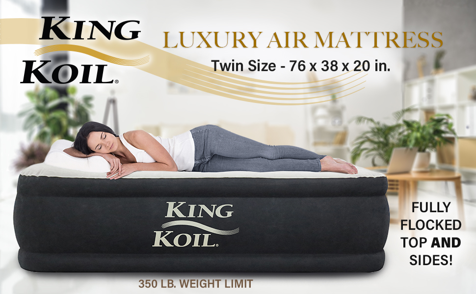 new product 567c8 fa492 King Koil Twin Air Mattress with Built-in Pump - Double High Elevated  Raised Airbed for Guests with Comfortable Top ONLY Bed with 1-Year  Manufacturer ...