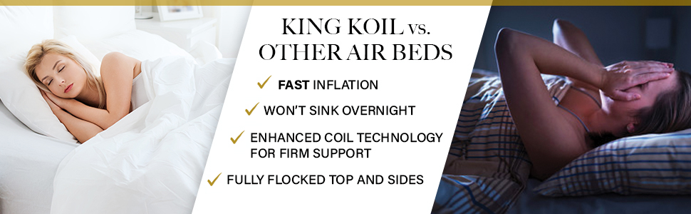 king koil queen size luxury raised airbed inflatable bed with built in pump blow up bed air mattress