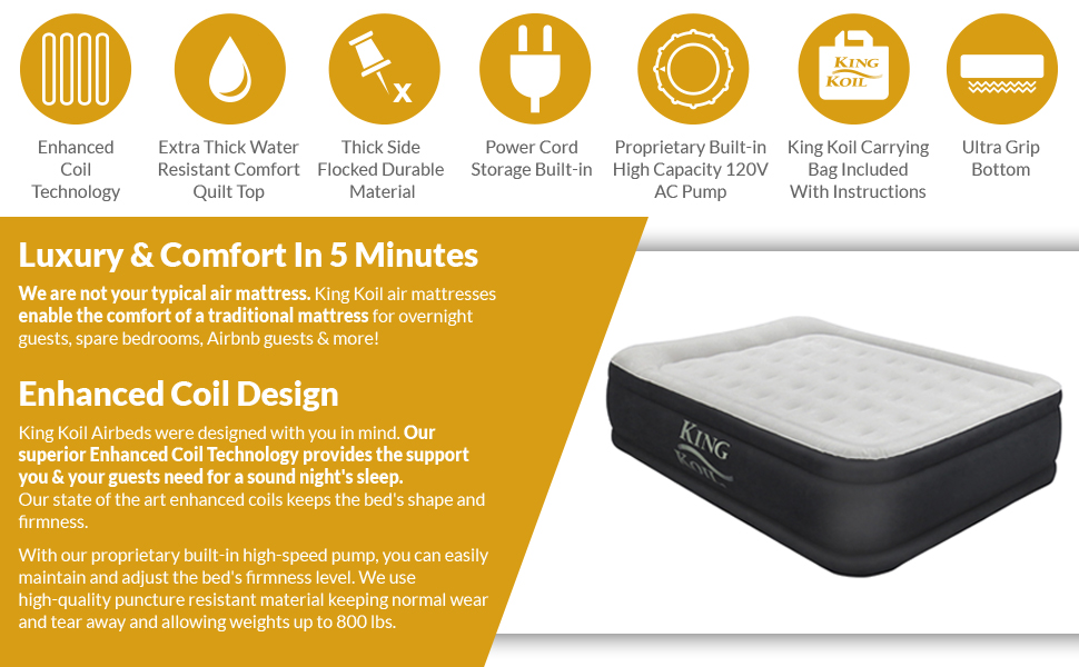 Amazon.com: King Koil California King Luxury Raised Air Mattress