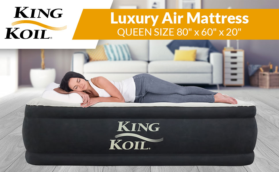 Amazon Com King Koil Queen Size Luxury Raised Air Mattress Best Inflatable Airbed With Built