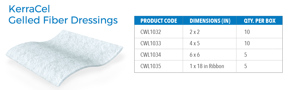 KerraCel Gelled Fiber Dressings are available in four different sizes