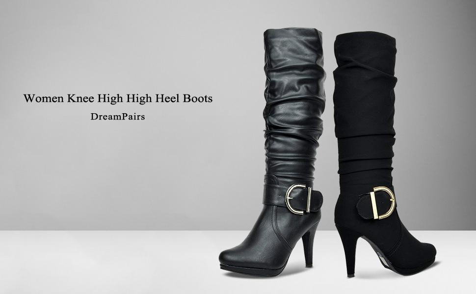 DREAM PAIRS WOMEN HIGH HEEL KNEE HIGH BOOTS