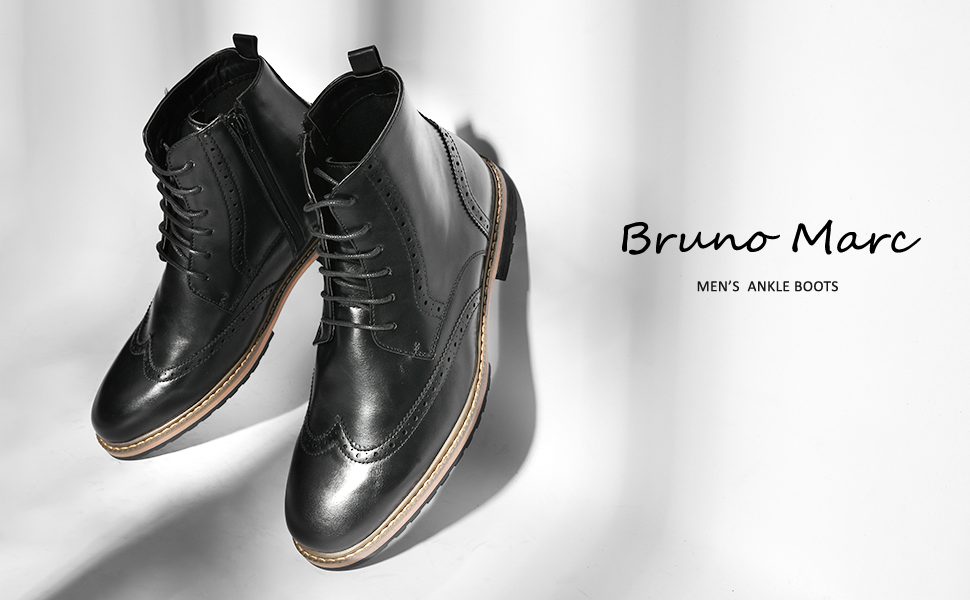 Bruno Marc Men's Bergen Classic Oxford Dress Boots