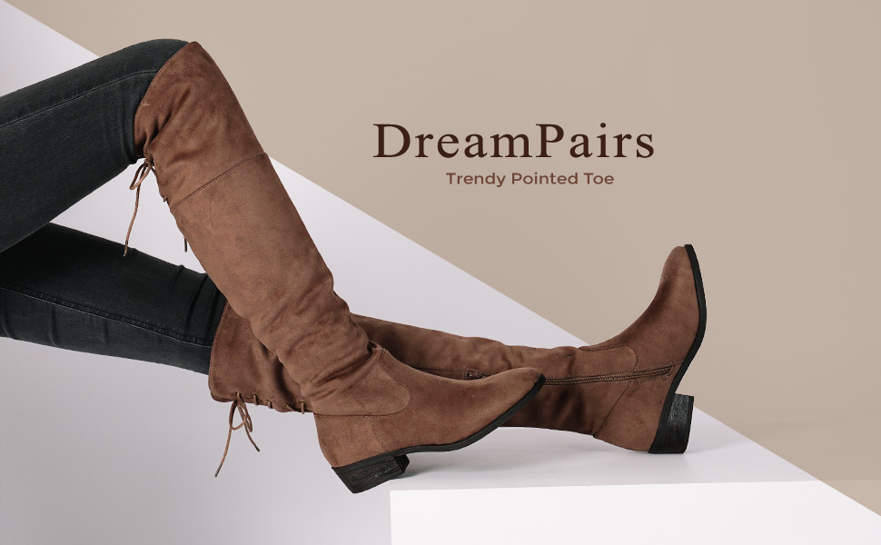 5a69d6050c2 Dream pairs thigh high over the knee flat low heel boots for women