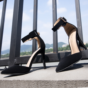 black ankle strap high heel pump shoes