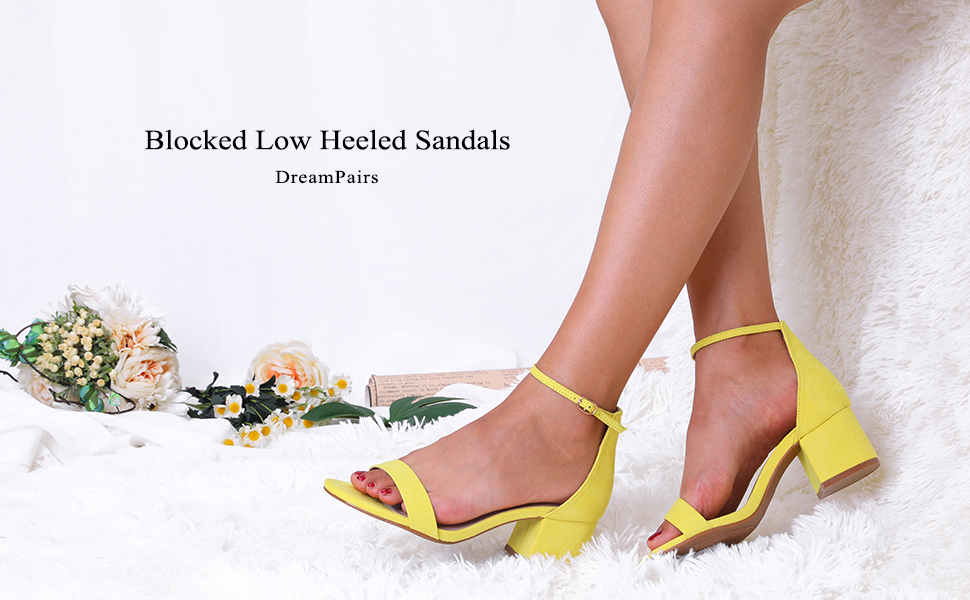 54b809e6ffe749 Low Heel Pump Sandals with Ankle Strap. dream pairs ...