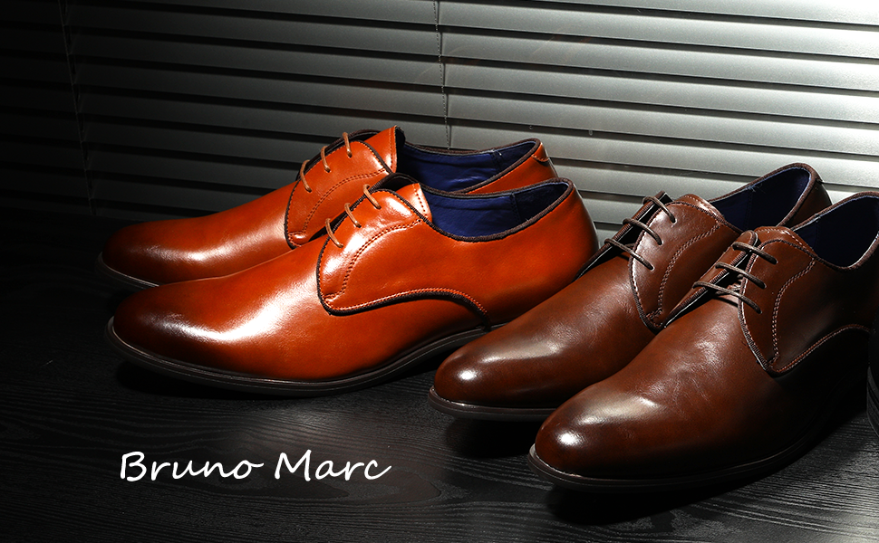 The Bruno Marc men's oxfords feature retro glam style with classic colors in a high-gloss sheen.