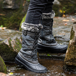 Waterproof cold weather Fully faux Fur Lined fashion lace up combat hiking snow boots for women