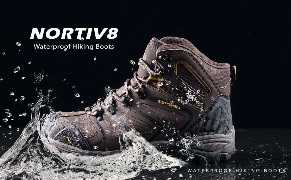 NORTIV 8 Mens Waterproof Hiking Boots Lightweight Mid Ankle Trekking Backpacking Outdoor Tactical Combat Boots
