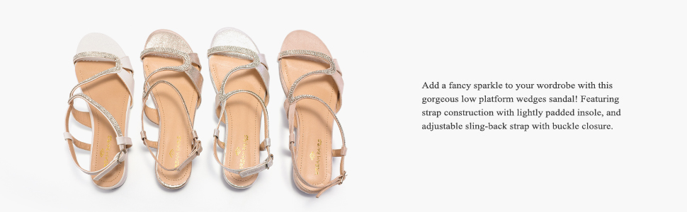 f3a5a451b2 Add a fancy sparkle to your wordrobe with this gorgeous low platform wedges  sandal!