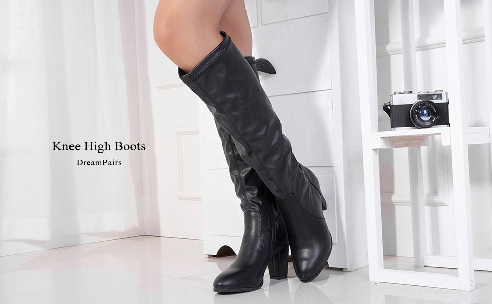 SHOWHOW Womens Simple Pointy Toe Above-The-Knee Booties with Bow