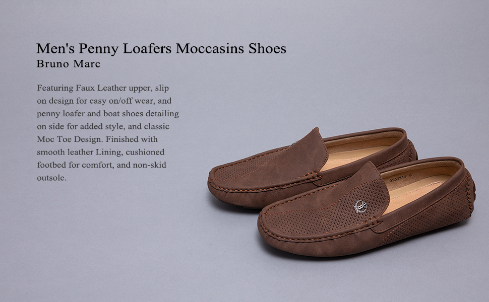 BRUNO MARC NEW YORK Men's 3251314 Penny Loafers Moccasins Shoes