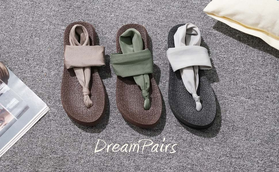 DREAM PAIRS Women/'s Flat Sandals Strap Yoga  Casual Lightweight Beach Shoes US