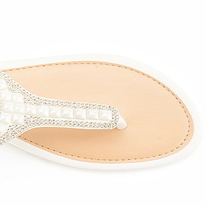 806d9241ec1f3e Add a fancy sparkle to your wordrobe with this gorgeous flat sandal!  Featuring elastic string straps construction with with distinguish thong  upper