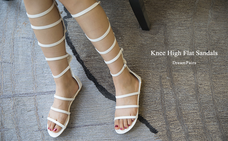 8e8ccbdf84c18 This stylish knee high gladiator Rhinestones flat sandal features an open  toe silhouette