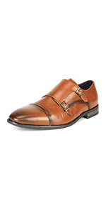 mens double monk strap buckle oxford dress shoes
