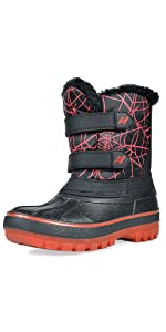 black red snow boots for girls boys kids