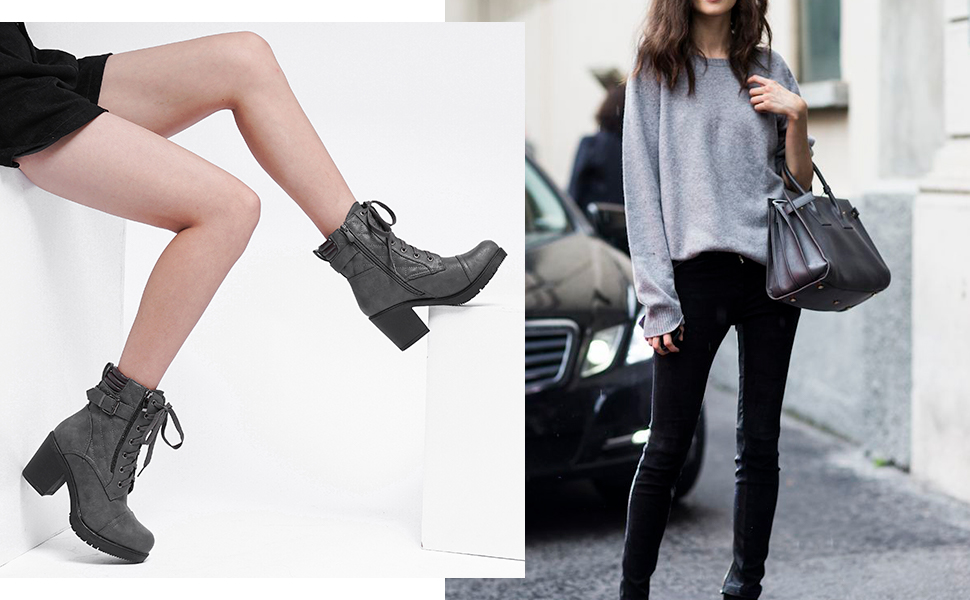 Retail 59. DREAM PAIRS Women's Chunky Heel Ankle Booties with convenient pocket