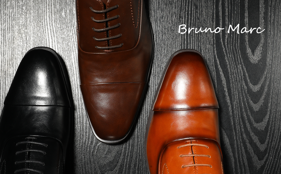 The Bruno Marc men's oxfords feature retro glam style with their classic colors in high-gloss sheen