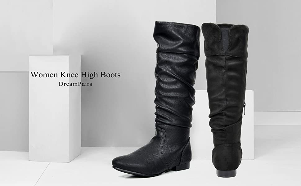 kid on sale online biggest selection DREAM PAIRS Women's Flat Knee High Boots