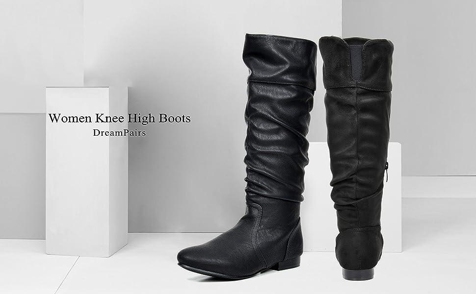 Grey Pu DREAM PAIRS Women/'s Flat Knee High Boots 5.5