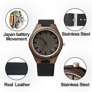 Engraved Wooden Watch for Men,Natural Natural Ebony Customized Wood Watch Birthday Anniversary Gift